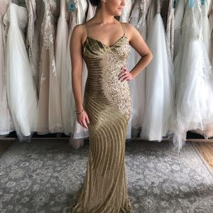 Beaded Gold Prom Dress Fitted Low Back